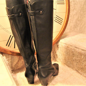 COLE HAAN Leather BOOTS womens knee high  heel 8m